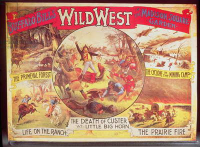 Poster advertising Buffalo Bill's Wild West Fair in Madison Square Garden (colour litho)