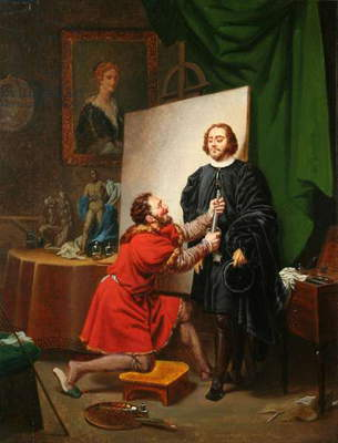 Aretino in the studio of Tintoretto, c.1822 (oil on canvas)