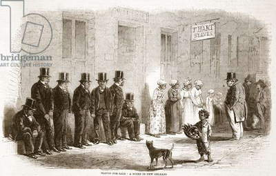 Slaves for sale: a scene in New Orleans, illustration from 'The Illustrated London News', 1861 (litho)