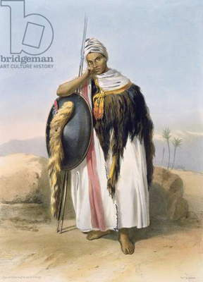 Warrior from Amhara, Ethiopia, illustration from 'The Valley of the Nile', engraved by Adolphe Rouergue (1810-p.1870) pub. by Lemercier, 1848 (litho)