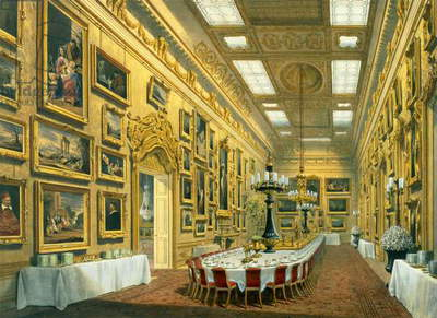 The Waterloo Gallery, Apsley House, reproduced in 'Apsley House and Walmer Castle' by Richard Ford, 1853 (w/c on paper)