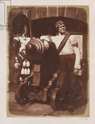 Artilleryman and Highlander, Edinburgh Castle (salt paper print from calotype negative)