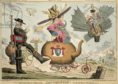 Locomotion - Walking by Steam, Riding by Steam, Flying by Steam, published by Thomas McLean, London (coloured etching)