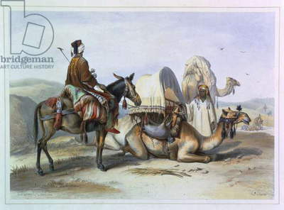 Kafila with a Camel Bearing a Hodesh, illustration from 'The Valley of the Nile', engraved by Lehnert, pub. by Lemercier, 1848 (litho)