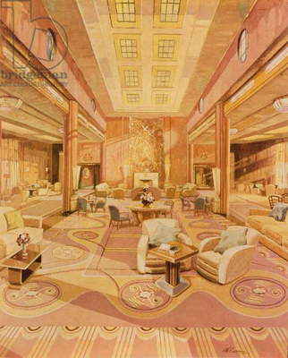 Interior of the First Class Lounge on R.M.S. 'Queen Mary' (litho)