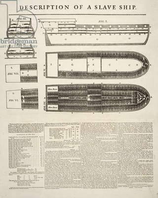 Description of a Slave Ship; pub. 1789 (engraving)