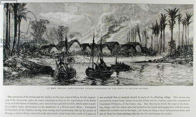 An East African Slave-trading Village Destroyed by the Boats of British Cruisers (engraving)