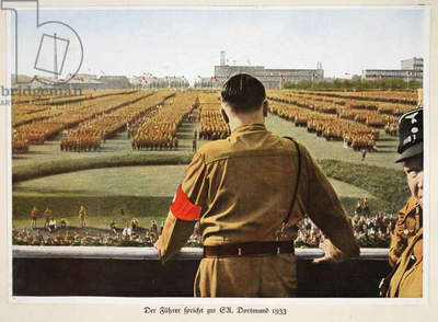 The Fuhrer Speaks to the SA, Dortmund, 1933, from 'Germany Awakened' (colour litho)