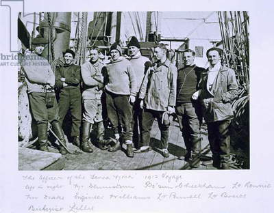 The officers of the 'Terra Nova' expedition (1910-13) to the South Pole, led by Captain Scott (b/w photo)