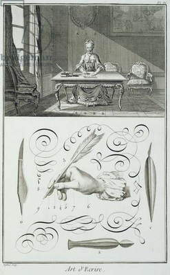 Art of writing, plate from Diderot's 'Encyclopedie' (engraving)