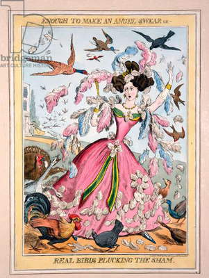 Enough to Make an Angel Swear, or, Real Birds Plucking the Sham, c.1830s (hand-coloured engraving)