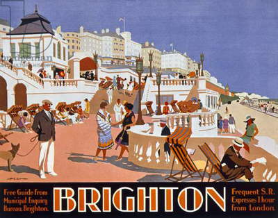 Poster advertising travel to Brighton (colour litho)