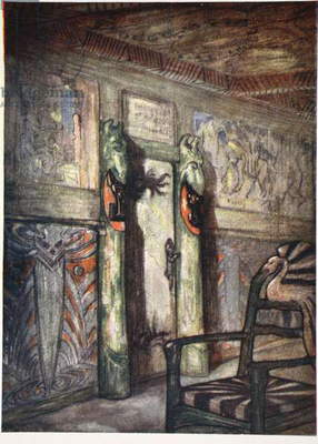 Room by Munthe at Holmencollen, 1905 (colour litho)