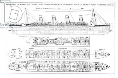 Inquiry into the Loss of the Titanic: Cross sections of the ship (engraving) (b/w photo)