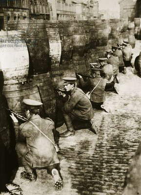 British soldiers behind barrels in Dublin (sepia photo)
