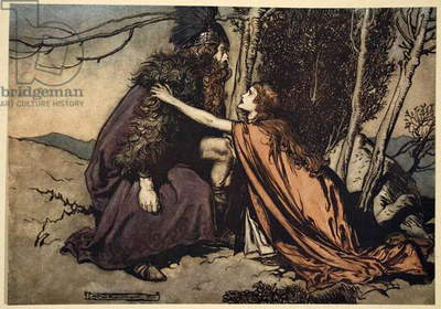 'Father! Father! Tell me what ails thee? With dismay thou art filling thy child!', illustration from 'The Rhinegold and the Valkyrie', 1910 (colour litho)