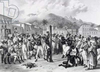 Public Punishments in the Place Ste. Anne, engraved by Deroi, pub. by Engelmann, c.1835 (litho)