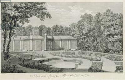A View of the Aviary and Flower Garden at Kew, from 'Plans, Elevations, Sections and Perspective Views of the Gardens and Buildings at Kew in Surry', by Sir William Chambers (1726-96), engraved by Charles Grignion, published 1763 (engraving)