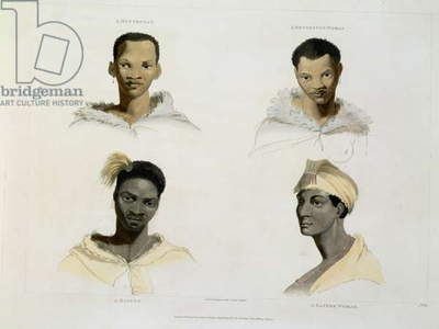 A Hottentot, a Hottentot Woman, a Kaffre, a Kaffre Woman: four head and shoulder vignettes, plate 14 from 'African Scenery and Animals', engraved by the artist, 1804 (aquatint)