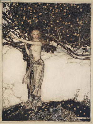 Freia, the fair one, illustration from 'The Rhinegold and the Valkyrie', 1910 (colour litho)