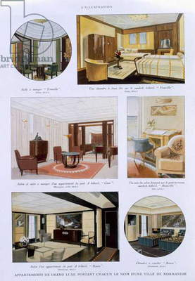 Page from a promotional brochure for the SS Normandie, 1935 (colour litho)