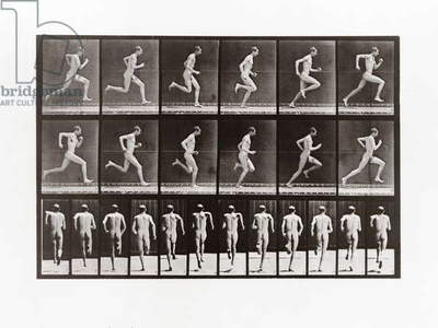 Man running, Plate 62 from Animal Locomotion, 1887 (b/w photo)