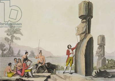 Island Monument, from Captain Cook's visit to Easter Island (colour engraving)