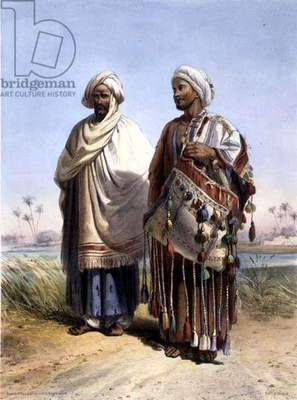 A Nubian and a Fellah Carrying a Dromedary Saddlebag, illustration from 'The Valley of the Nile', engraved by Eugene Le Roux (1807-63) pub. by Lemercier, 1848 (litho)