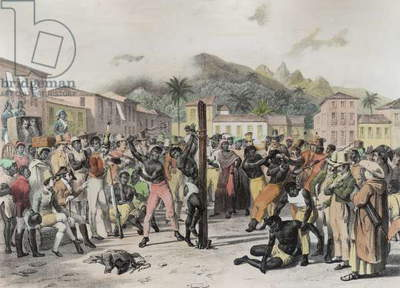 Public Punishments in the Place Ste. Anne, engraved by Deroi, pub. by Engelmann, c.1835 (litho) (later colouration)
