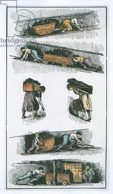 Child and woman labour in the coal mines prior to 1843, drawn from contemporary prints, illustration from 'The Church of England: A History for the People' by H.D.M. Spence-Jones, pub. c.1910 (litho) (later colouration)