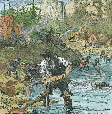 Gold Washing in California, from a book pub. 1896 (hand coloured engraving)