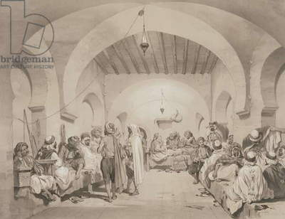 Cafe du Divan, Algiers, from a volume commemorating the French Expeditionary Force which captured Algiers in 1830, engraved by Adolphe Jean-Baptiste Bayot (1810-66) (litho)