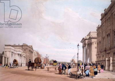 Hyde Park Corner, looking down Piccadilly, from 'London as it is Drawn from Nature' 1842 (colour litho)