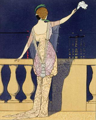 Farewell at Night, design for an evening dress by Paquin (colour litho)