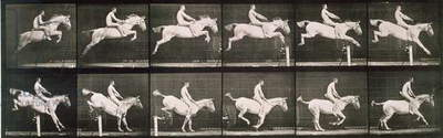 Man and horse jumping a fence, plate 643 from 'Animal Locomotion', 1887 (b/w photo)