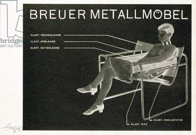 Advertisement for the 'Breuer Metallmobel' Bauhaus style chair designed by Herbert Bayer (1900-85)