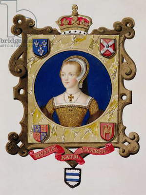 Portrait of Catherine Parr (1512-48) 6th Queen of Henry VIII as a Young Woman from 'Memoirs of the Court of Queen Elizabeth', published in 1825 (w/c and gouache on paper)