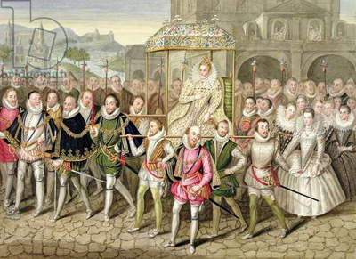 Queen Elizabeth I in procession with her Courtiers (c.1600/03) from 'Memoirs of the Court of Queen Elizabeth' after an oil attributed to Robert Peake (c.1592-1667) at Sherborne Castle, published in 1825 (w/c and gouache on paper)