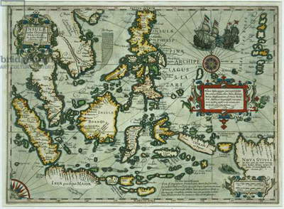 Map of the East Indies, pub. 1635 in Amsterdam (hand-coloured engraving)