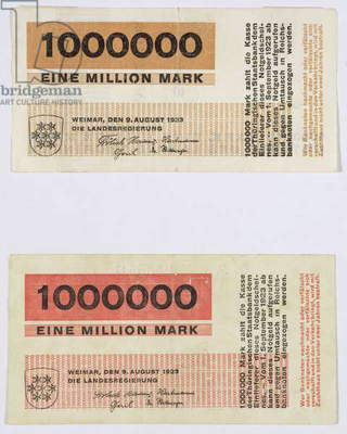 Two 1 million Mark banknotes, 1923