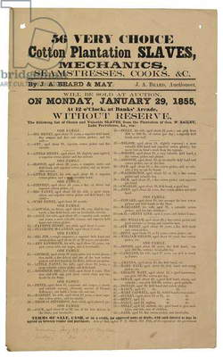 Advertisement for an auction of '56 very choice Cotton Plantation Slaves', 29th January 1855 (print)