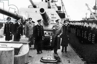 Adolf Hitler and German naval officer on board the battleship 'Bismarck', 5th May 1941 (b/w photo)