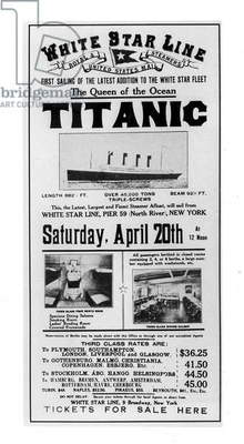 Poster advertising the voyage of the Titanic from New York on April 20th, 1912 (litho)