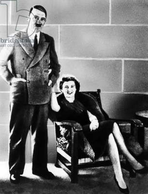Adolf Hitler and Eva Braun, 1938 (b/w photo)