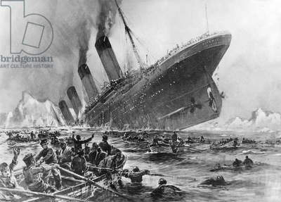 Sinking of the Titanic in contemporary representation (litho)