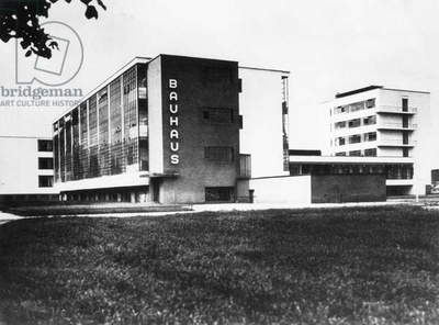 The Bauhaus building in Dessau (b/w photo)