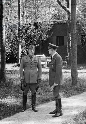Benito Mussolini and Adolf Hitler in his headquarters Wolfsschanze, 1941 (b/w photo)