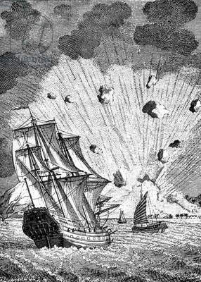 Contemporary illustration of the eruption of Tambora volcano in the Moluccas islands, 1815 (engraving)