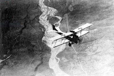 Austro-Hungarian airplane over the Piave, 1918 (b/w photo)