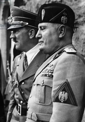 Adolf Hitler and Benito Mussolini, 1937 (b/w photo)